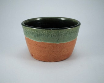 earth brown + green ceramic planter
