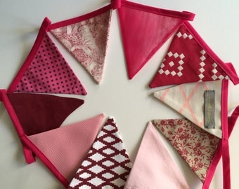 Garland of pink and Burgundy fabrics pennants/flags