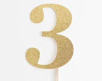 3 Cake Topper, Three, Third Birthday party decoration, I am three, gold glitter, 3rd decor, decoration