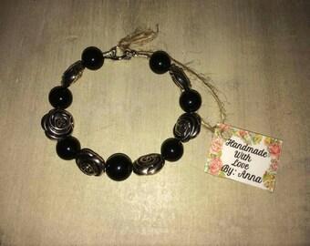 Handmade Beaded Bracelet Black; Silver Roses