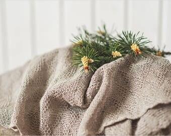 Natural Linen knit blanket - Linen Baby blanket - Newborn blanket - Baby shower gift - Strollers blanket