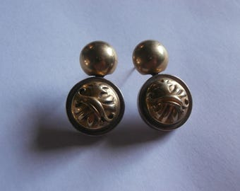 """Vintage modernist 18k gold over sterling silver signed earrings 14k ear post 1.5"""" long dangle hand made 1998"""