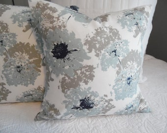 SPA Blue.Floral.Navy.White.LightBlue.Taupe Grey.18x18.Coastal.Beach.Cottage.Ocean Front Decor.SunPorch.Living Room Decor.Pillow Covers