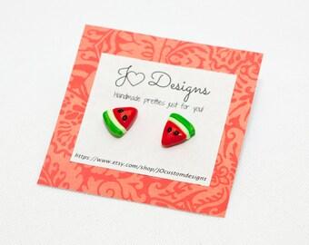 Watermelon Earrrings, Miniature Food Jewelry, Watermelon Charms, Summer Earrings, Fruit Earrings, Food Earrings, Sterling Silver Jewelry