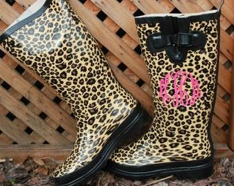 Monogrammed - Leopard Cheetah Rubber Rain Boots