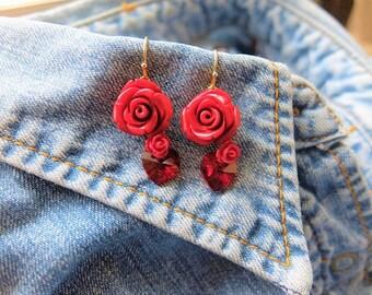 Crystal Earrings, Red Coral Earrings. Rose Earrings. Red Rose Earrings. Heart Earrings. FLower Earrings. Beaded Earrings.