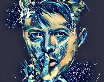 DAVID BOWIE Blue Canvas Wall Art