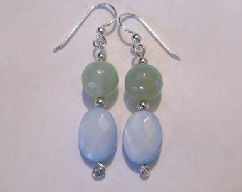 Dreaming of Clouds - earrings - dyed shell - stone - sterling silver