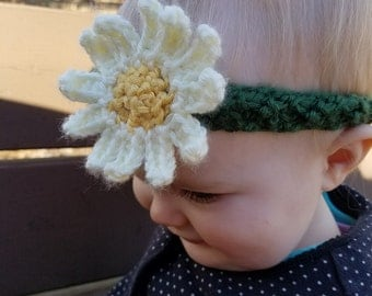 Crochet Daisy Headband, Baby Girl Headband, Daisy Headband, Flower Girl Headband, Flower Headband