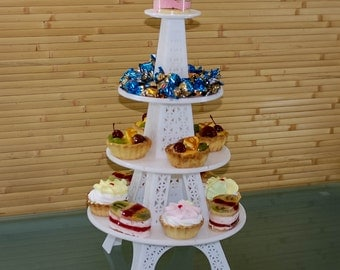 Cupcake stand foldable. Tiered cake holder made of white acryl 4 mm thick