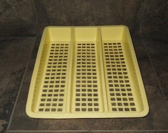 Vintage Deka Plastics Yellow Silverware Tray