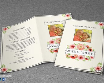 Printable Funeral Program Template - MS Word and Photoshop Template - INSTANT DOWNLOAD