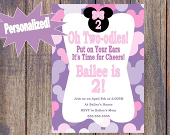 Minnie Mouse Twoodles Birthday Invitation - Purple or Pink! - Printable