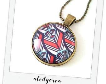 Collar Wax African fabric • • • glass cabochon bronze