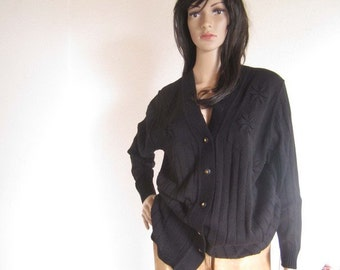 Vintage 80s Wool Cardigan Sweater Bache oversize