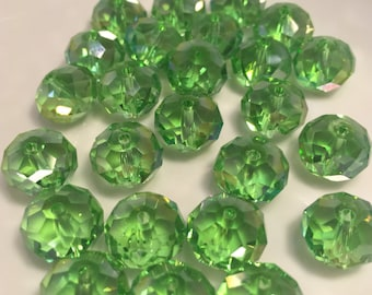 12mm Transparent Peridot Green Faceted Rondelle Crystals  25pc