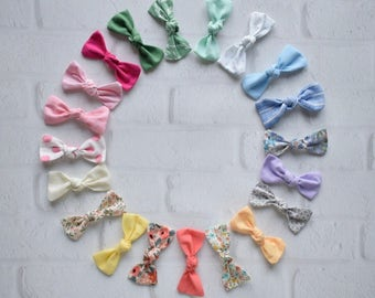 Tiny Bow - Spring and Summer Collection - You Pick ONE Tiny Bow on your choice of Nylon or an Alligator Clip