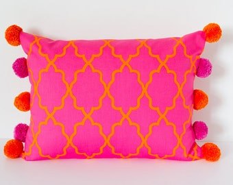 Bright Pink and Orange Cushion, Throw Pillow, Decorative Cushion with Pom Poms, Modern Pink Cushion, Rectangular 17x13 inch Cushion