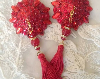 Ruby Red , Rock Star Absolut Red nipple tassels, burlesque pasties, nipple covers by D. Lovely Pasties Design