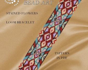 Bead loom pattern - Stained flowers LOOM bracelet pattern in PDF - instant download