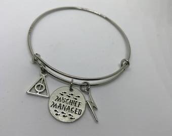 Harry Potter inspired Bangle Bracelet mischief Managed