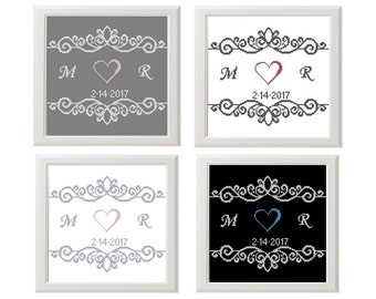 Wedding Cross stitch pattern modern Personalized, anniversary ornament, Instant download PDF