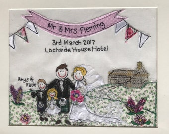 Personalised Wedding embroidery 8x10inch mounted and framed