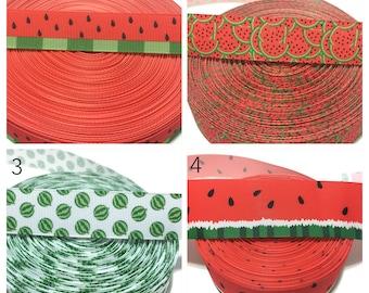 "1"" Watermelon Ribbon by the yard, Watermelon Grosgrain Ribbo, Fruits Ribbon, Summer Ribbon, Hairbow Ribbon"