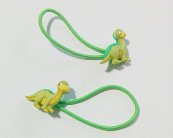 brontosaurus dinosaur hair ties ponytail elastics *set of 2*