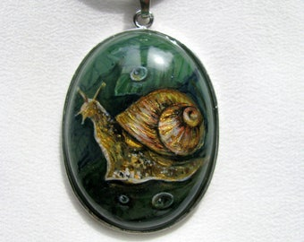 Natural stone, jade, author's painting, snail, miniature painting, painting on stone