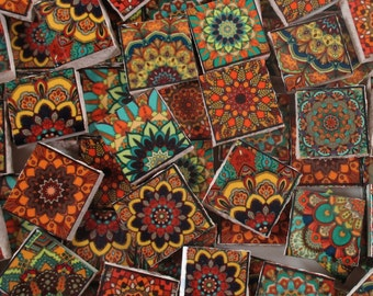 Ceramic Mosaic Tiles - Vintage Colors Moroccan Tile Design Medallions Mosaic Tile 60 Pieces - For Mosaic Art / Mixed Media Art/Jewelry