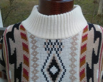 Vintage Aztec Sweater, Slouchy Sweater, Boho Style, Thick Sweater, Southwest Sweater, 80s Sweater, 80s Style, White Sweater