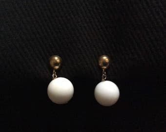 Clip On White Bead Adjustable Earrings