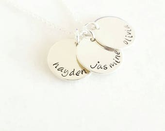 Mother's day three disc necklace sterling silver three names necklace | hand stamped discs | initial charm | family | personalised |engraved