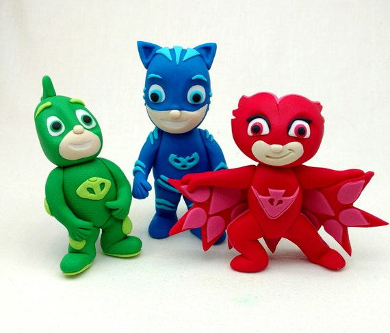 ... Catboy, Owelette and Gekko 3D Fondant Character Birthday Cake Toppers