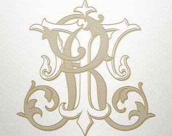 Vintage Wedding Monogram - RT TR - Wedding Monogram - Digital