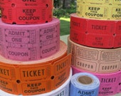 Two Part Tickets (choice of quantity) / Choice of colour / Numbered raffle tickets / Beer tickets / red raffle tickets / yellow tickets