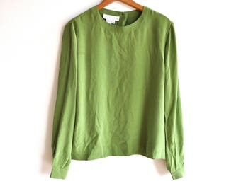 Vintage 80s Green Silk Long Sleeve Blouse