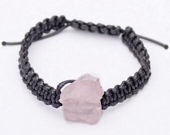 Raw Rose Quartz Macrame Bracelet