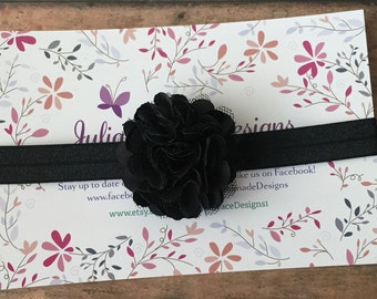 Black Headband/Black Baby Headband/Baby Headband/Flower Headband/Baby Girl Headband/Newborn Headband/Newborn Photo Prop/Infant Headband/Baby