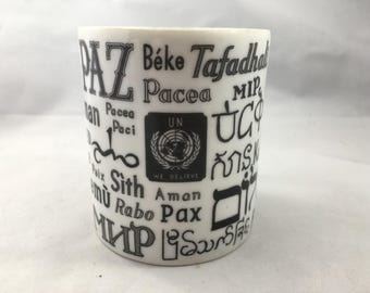 Vintage Mid Century United Nations Peace In Different Languages Black and White Mug