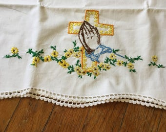 Pair of Vintage Embroidered Praying Hands and Cross Pillowcases