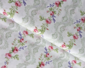 White Rose Stripe Cotton Fabric from the Fidelia Collection by Clothworks