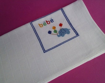 Baby boy burp cloth, 100% Cotton, Traditional Diaper, Shower Gift, blue elephant, stroller blanket, Bath and Beauty, Baby and Child Care,