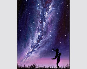 Space painting Milky Way painting Romantic Art gift idea for her Galaxy painting Landscape Oil painting on canvas Couple in love Size 24x16""