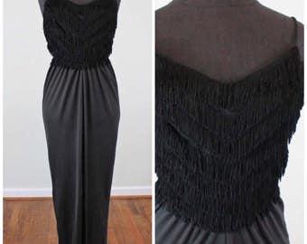 Vintage Black Fringe 70s Disco Maxi Dress - Size XS, Extra Small