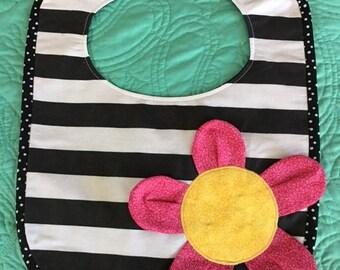 Zebra-Themed & Flower Striped Baby Bib