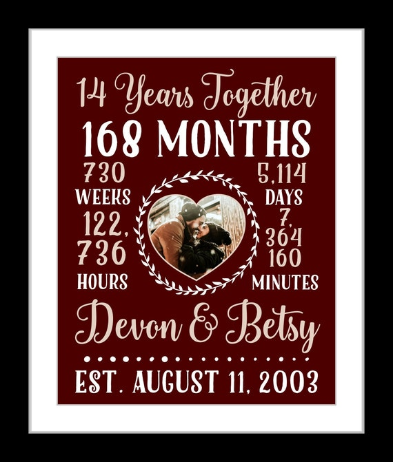 Wedding Gift 14 Years : 14 Year anniversary gift, 14 year wedding anniversary, countdown gift ...