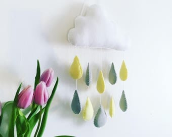 medium white rain cloud mobile wall hanging with yellow and grey raindrops perfect for a nursery