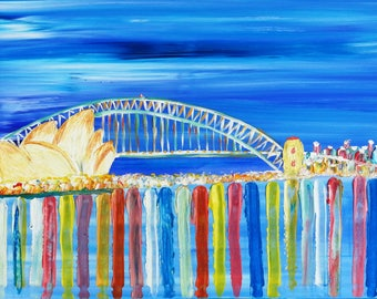 Original Abstract, modern art painting  Sydney Harbour Bridge acrylic on canvas  60 x 90cm abstract night